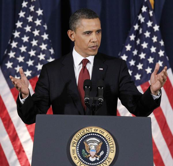 President Obama is seen delivering his address on Libya at the National Defense University in Washington on March 28, 2011. On Thursday, he will speak at the university to address the issue of drones.