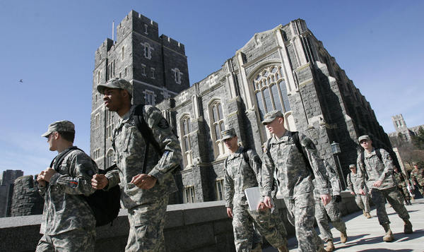 US Army cadets make their way through campus in 2007 at the United States Military Academy in West Point.