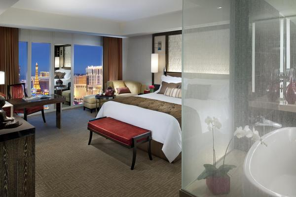 Guests can save hundreds of dollars on a king-bedded room overlooking the Las Vegas Strip during a summertime promotion.