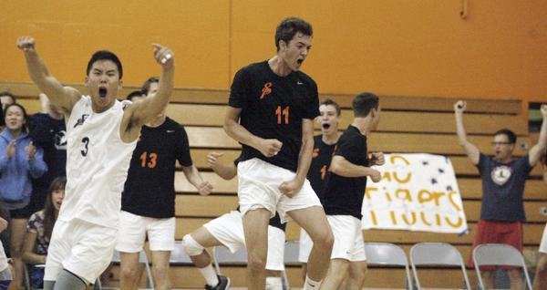 South Pasadena High's Nathan Lee, left, and Robert Adamson celebrate after defeating La Jolla in five games.