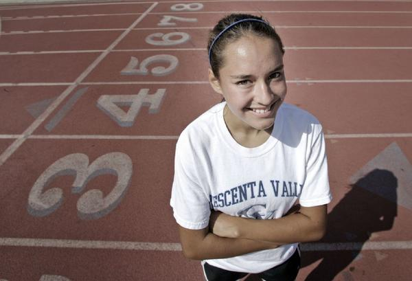 Crescenta Valley High sophomore Megan Melnyk has defied expectations in advancing to Friday evening's CIF Southern Section Track and Field Masters Meet in the 800-meter run. (Cheryl A. Guerrero/Staff photographer)