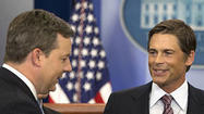 Rob Lowe gives White House reporters a 'West Wing' flashback