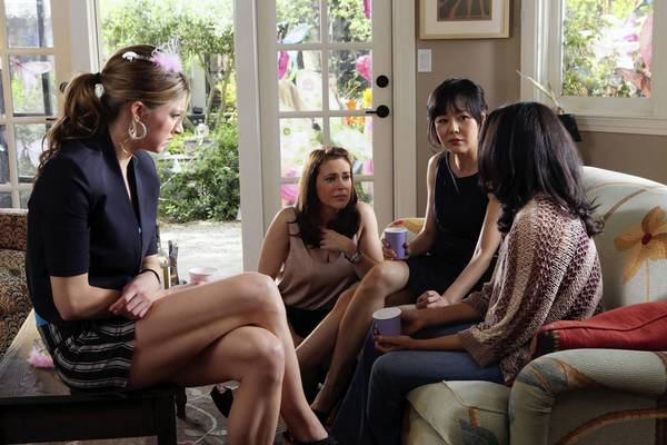 "Jes MacAllan, left, Alyssa Milano, Yunjin Kim and Rochelle Aytes in ""Mistresses."""