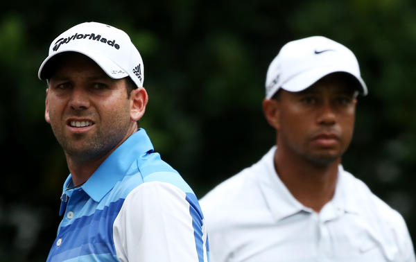 Tiger Woods and Sergio Garcia on the 11th tee during round three of THE PLAYERS Championship.