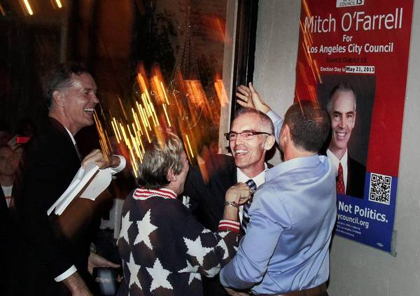 Mitch O'Farrell, who defeated John Choi for the 13th Council District seat, celebrates his victory at his election night party. The seat had been held by Eric Garcetti, who was elected L.A. mayor.