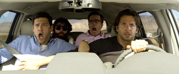 JUSTIN BARTHA as Doug, ZACH GALIFIANAKIS as Alan, ED HELMS as Stu and BRADLEY COOPER as Phil in Warner Bros. Pictures and Legendary Pictures comedy THE HANGOVER PART III, a Warner Bros. Pictures release.