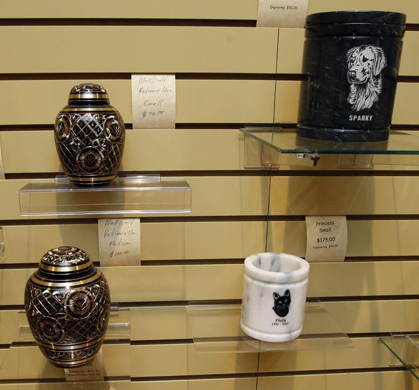 Some of the urns available at Pets At Rest. photo by john davis taken 5/17/2013