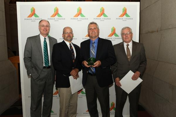 Town Manager Richard J. Johnson, Superintendent of Buildings Dave Sacchitella, Superintendent of Sanitation Michael Bisi and Director of Operations Lance Mazur accepted Power of Change Awards on behalf of the town.