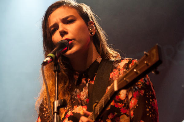 Ragnar rhallsson and Nanna Brynds Hilmarsdttir of the band Of Monsters And Men perform on stage during the London Launch of Logitech UE at Village Underground on September 25, 2012 in London, United Kingdom.