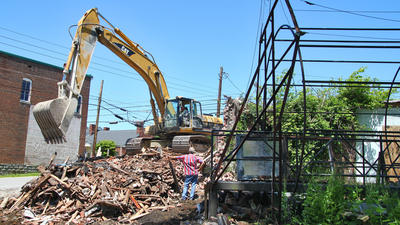 Remains of haunted house, old buildings cleared from Hustonville's Main Street