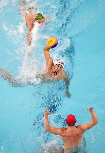 Team USA's Shea Buckner takes a shot in game vs South Africa during 2011 FINA World Championships at Oriental Sports Center in Shanghai.