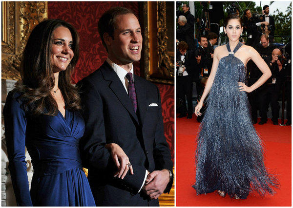 At left, Kate Middleton (in Issa London) and Prince William at their Nov 16, 2010, engagement announcement. At right, Araya A. Hargate at the Cannes Film Festival on Wednesday.