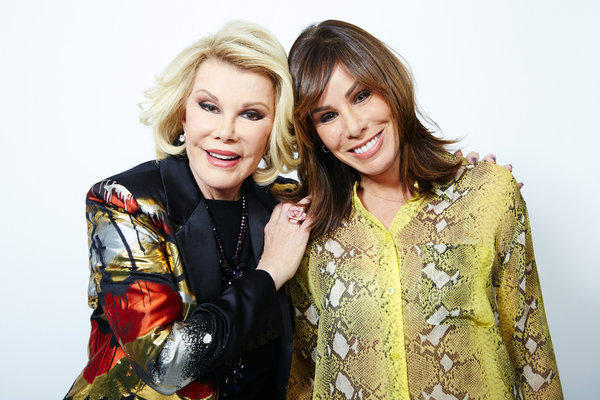 "Comedian Joan Rivers, left, and her daughter Melissa Rivers in New York. Joan Rivers hosts the show ""Fashion Police;"" the writers for the show are on strike."
