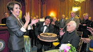 Former Speaker of the House Nancy Pelosi and Rev. Theodore M. Hesburgh