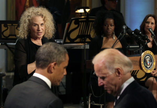 Singer-songwriter Carole King speaks after being awarded by President Obama the 2013 Library of Congress Gershwin Prize for Popular Song at the White House on May 22.  The Gershwin Prize for Popular Song recognizes artists for lifetime achievements in musical expression.