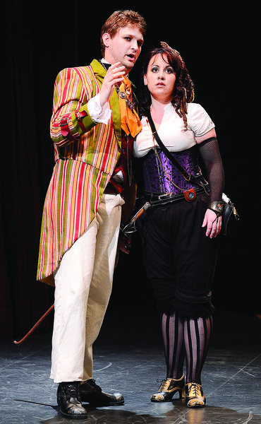 Mark Wanich, left, plays the heartless womanizer Don Giovanni and Francesca Aguado plays sweet, young Zerlina in the Hub Opera Ensembles steampunk-themed production of Don Giovanni, which opens Friday, May 24, at HCCs Kepler Theater.