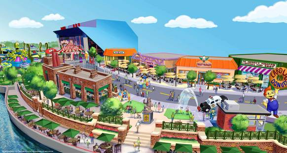 Rendering of the Springfield planned for Universal Orlando this summer. The new area in Universal Studios will contain mulitple restaurants and will be anchored by the Simpsons Ride.