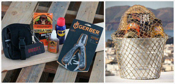 Broquet's gift-basket offerings for guys includes the MacGyver tactical toolkit, left, for $65, and the Bonfire, a galvanized bucket of California-themed grilling supplies, $56.