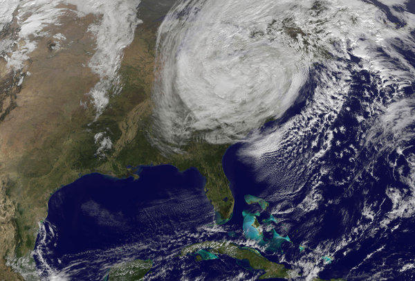 Sandy, shown here in a satellite image on Oct. 30, 2012, evolved from a Category 3 hurricane in the Caribbean to an intense post-tropical cyclone before landfall in the U.S. Many of the deaths caused directly by the storm were from drowning.