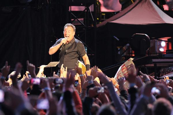 Bruce Springsteen performs in Naples, Italy, on Thursday.