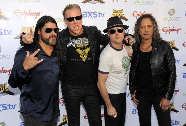 Metallica -- Robert Trujillo, left, James Hetfield, Lars Ulrich and Kirk Hammett -- have a new concert movie coming out.