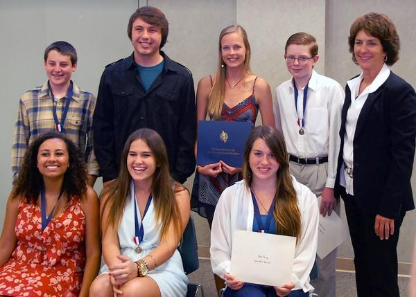 The second annual Laguna Beach Daughters of the American Revolution Student Awards were held at Tankersley Hall last week. Pictured are: Back row, from left, Mathew Haim, Jackson Pries, Rickie Scott, London Carter, Joanne Culverhouse; Front row, from left, Sarina Strickland, Leslie Dwight and Eden Young.