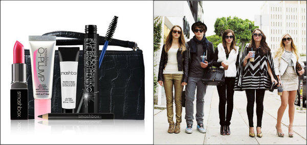 "Smashbox Cosmetics' ""The Bling Ring"" Kit, at left, $48, was inspired by the cast of the film: Taissa Farmiga, Israel Broussard, Emma Watson, Katie Chang and Claire Julien."