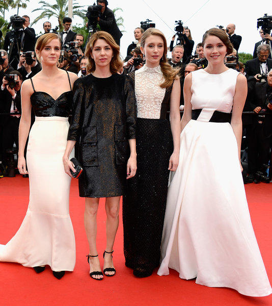 "Actress Emma Watson, left, director Sofia Coppola and actresses Taissa Fariga and Katie Chang attend ""The Bling Ring"" premiere during the Cannes Film Festival at the Palais des Festivals on May 16 in Cannes, France."