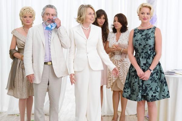 "From left to right: Muffin (Christine Ebersole), Don (Robert De Niro), Ellie (Diane Keaton), Nuria (Ana Ayora), Madonna (Patricia Rae) and Lyla (Katherine Heigl) in ""The Big Wedding."""