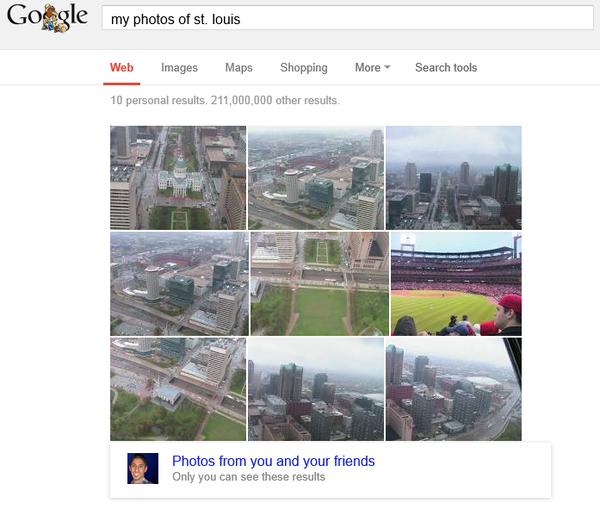 A search for photos of St. Louis successfully returned pictures from my Google  account of downtown St. Louis.