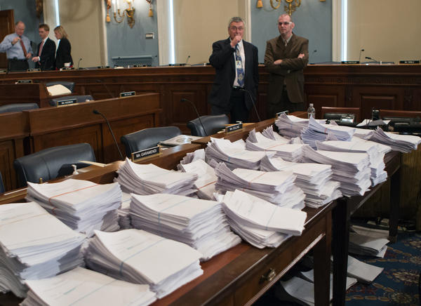 Stacks of paperwork await members of the House Agriculture Committee on Capitol Hill in Washington as it meets to consider proposals to the 2013 Farm Bill.