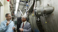 NASA Administrator Charles Bolden dropped by JPL on Thursday to outline the agency's plans to capture an asteroid, and to look at a model of a powerful new ion thruster that has enough strength to drag a space rock into orbit around the moon.