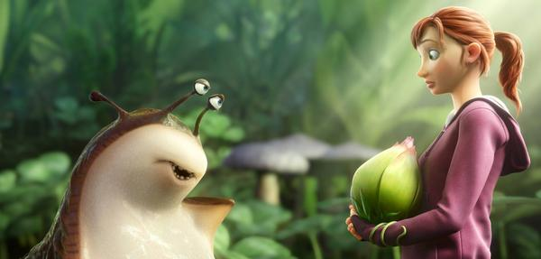 "Mub, voiced by Aziz Ansari, left, and MK, voiced by Amanda Seyfried, in a scene from the animated film, ""Epic."""