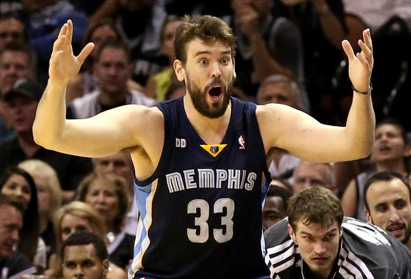Memphis Grizzlies' Marc Gasol reacts to a call in the second half against the San Antonio Spurs during Game 2 of the Western Conference final.