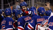 NEW YORK -- Chris Kreider's goal 7:03 into overtime gave the New York Rangers a 4-3 overtime win over the Boston Bruins in Game 4 of the Eastern Conference semifinal series on Thursday night at Madison Square Garden.