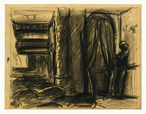 "Edward Hopper ""worked out extensively in drawings,"" says the Whitney Museum's Carter Foster, including this study for the artist's monumental ""New York Movie."" ""You could focus on the way he got to his great oil paintings through drawing."""
