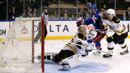 The New York Rangers scored in overtime to complete a 4-3 comeback win over the Boston Bruins at Madison Square Garden on Thursday and avoid elimination from the Stanley Cup playoffs.