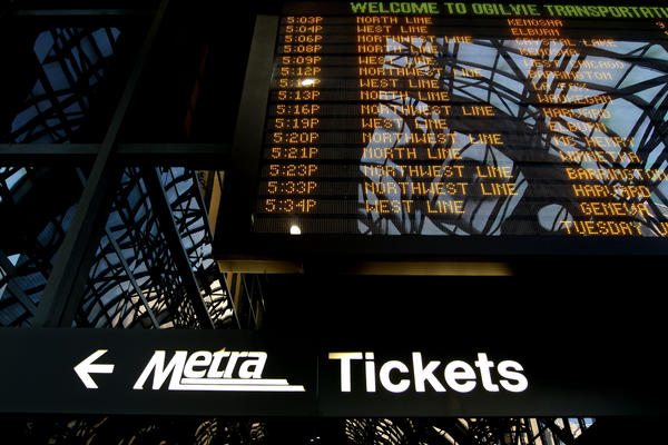 Train schedules at the Ogilvie Trasnportaion Center Tuesday afternoon.