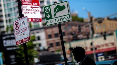 Signs explain the dos and don'ts of parking in the River North area of Chicago.