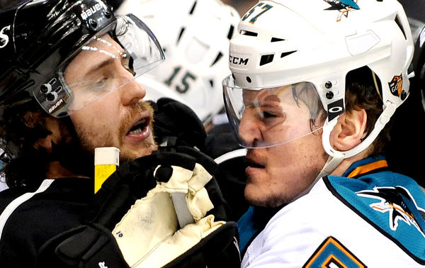 Kings' Mike Richards and Sharks' Tommy Wingels scuffle in the first period of Game 5.