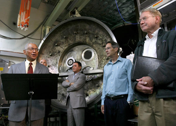 Surrounded by JPL officials, NASA Administrator Charles Bolden, left, talks about the Asteroid Initiative during press conference at the Jet Propulsion Laboratory in Pasadena on Thursday, May 23, 2013. NASA plans to capture an asteroid as it comes close to earth and set it in moon orbit for future exploration. The ion thruster will power a spacecraft that will capture the asteroid.