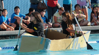 Middle school students use math, science knowledge to build cardboard boats