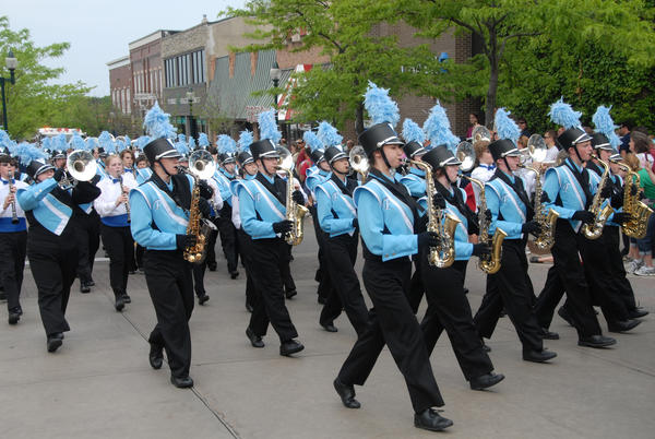 Marching bands, like the Petoskey Marching Band, are featured performers at Memorial Day parades throughout Northern Michigan.