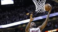 Miami Heat's James makes the game-winning shot against Indiana Pacers' Young during of their NBA Eastern Conference final basketball playoff in Miami