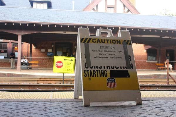 The pedestrian crosswalk at the Metra station in downtown Lake Forest was closed earlier this month.