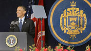 "President Barack Obama told graduating midshipmen at the Naval Academy on Friday that the nation needs them to ""project power across the oceans"" and vowed to continue to fight for military resources for their missions in the face of deep federal budget cuts."
