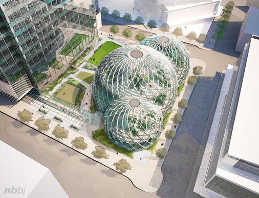 This artist's rendering shows Amazon's plans for a futuristic greenhouse-style head