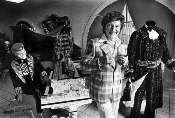 The flamboyant entertainer Liberace is all smiles in this photo from April 17, 1979, at his new museum in Las Vegas.