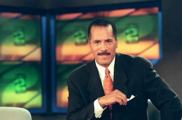 A photos of a mustachioed Lester Holt from the Channel 2 (WBBM) newscast in 1999.