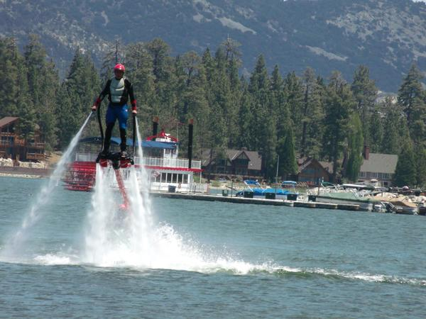 You can now climb up over Big Bear Lake in a new water-powered jet pack.